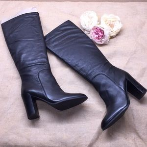 Kenneth Cole Black Leather Tall Boots 9.5M